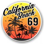 California Malibu Beach 1969 Surfer Surfing Design Vinyl Car Sticker Decal  95x95mm